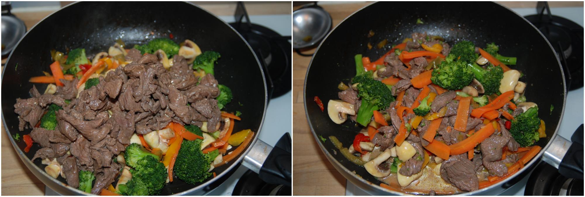 Bœuf sauté aux nouilles et légumes croquants